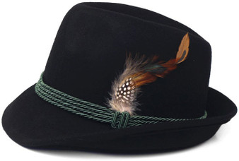 Black Polyester German and Tyrolean Trachten Hat w/ feather