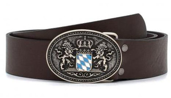 Belt Real Leather with Bavarian Crest Metal Buckle