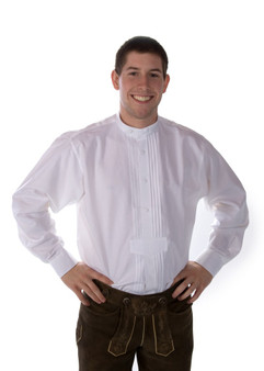 Lederhosen Men Shirt white pullover Munchen with band collar