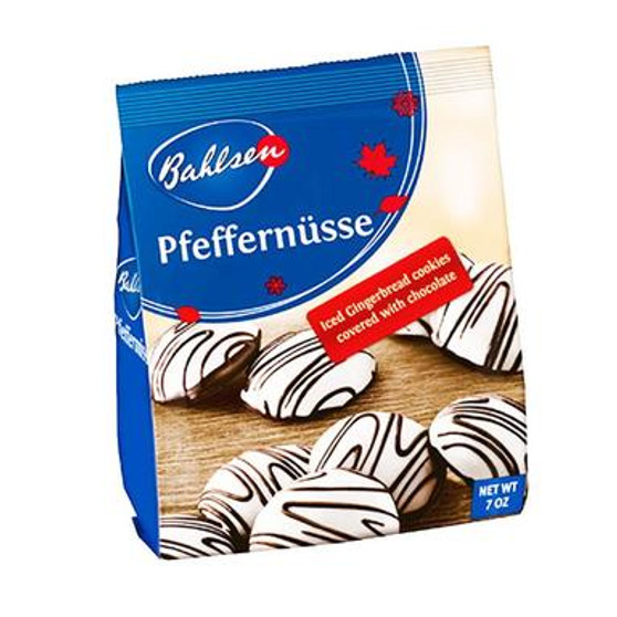 Bahlsen is the largest family-run European biscuit maker in the world. Why are they so popular? One taste of these iced gingerbread cookies will tell you why! These gingerbread Pfefernüsse are coated with white chocolate and a delicious drizzle of dark chocolate on top for added indulgence.