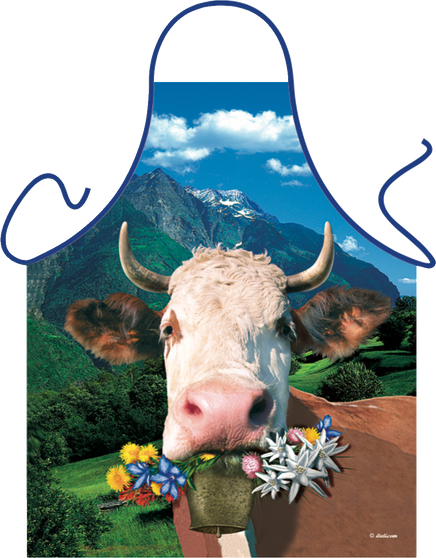 Itati Funny Bavarian German Cooking BBQ Apron - Happy Alpen Cow