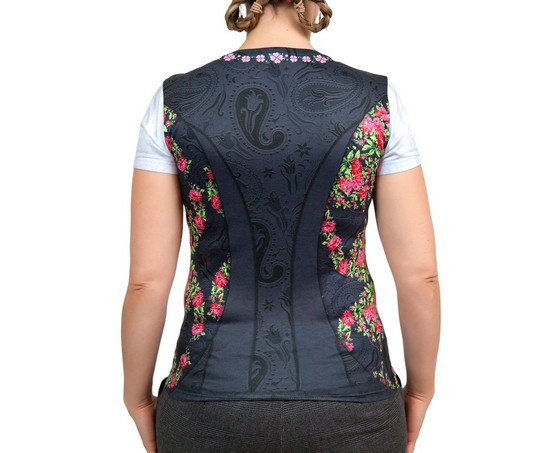 Costume Dirndl Realistic Faux Edelweiss Shirt back