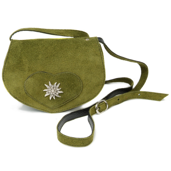 Shoulder bag heart shape - real suede - adjustable strap - closure / snap button - edelweiss large with Swarovski crystals