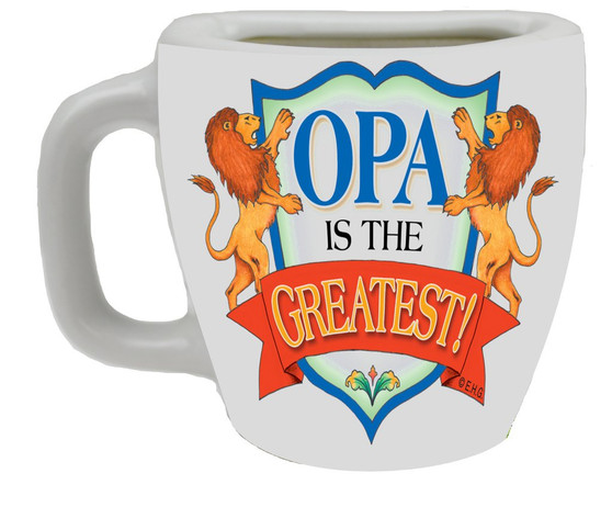 """Decorative ceramic mug kitchen magnet featuring the saying """"Opa is the Greatest"""" Material: Ceramic"""
