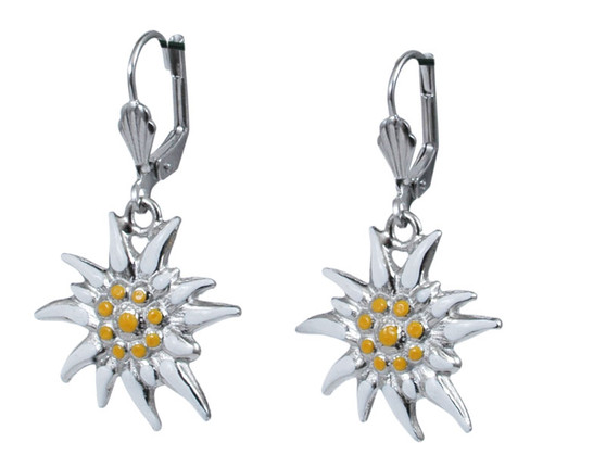 Hand Painted Edelweiss Earrings  Large