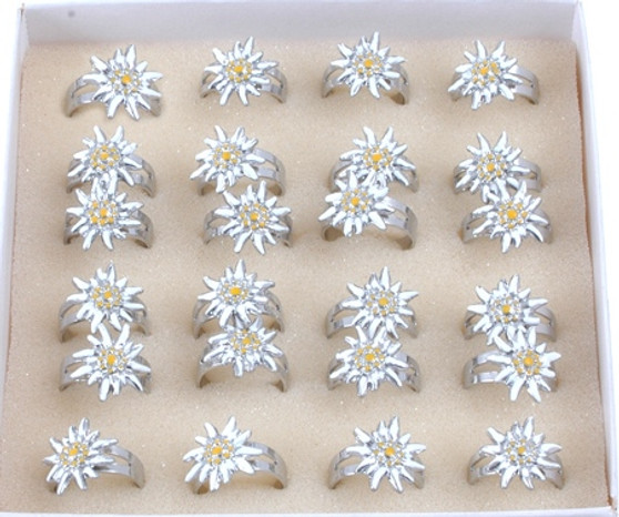Hand Painted Edelweiss Ladies Ring