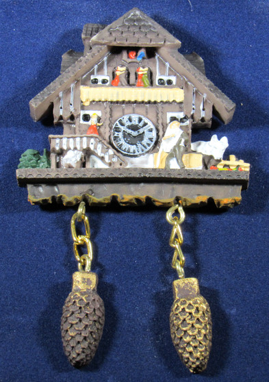 Magnet Cuckoo Alpenhaus Man and Cow  The magnet looks just like a Alpenhaus Cuckoo Clock.  Looks great on your refrigerator. Size: 3 x 2 x .5inch