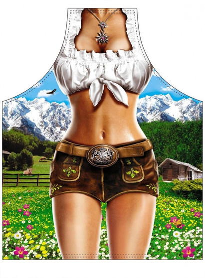 German Bavarian Cooking Apron. This Oktoberfest apron features a brilliant graphic of a woman in a mid drift-revealing outfit standing in front of a picturesque mountain scene.