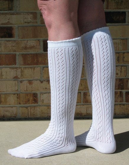 Ladies white Trachten knee socks