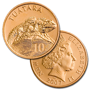 2007 New Zealand 10c Tuatara Brilliant Uncirculated Coin