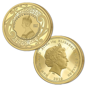 2019 New Zealand Sovereign - Queen Victoria 200 Years Double Sovereign Gold Proof Medallic Coin