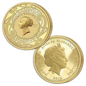 2019 New Zealand Sovereign - Queen Victoria 200 Years One Sovereign Gold Proof Flip Coin