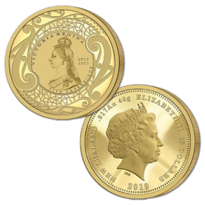 2019 New Zealand Sovereign - Queen Victoria 200 Years Five Sovereign Gold Proof Flip Coin