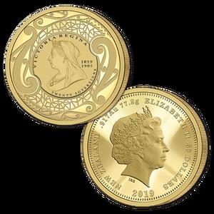 2019 New Zealand Sovereign - Queen Victoria 200 Years Twenty Sovereign Gold Proof Flip Coin
