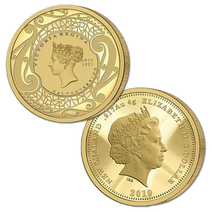 2019 New Zealand Sovereign - Queen Victoria 200 Years Half Sovereign Gold Proof Medallic Coin
