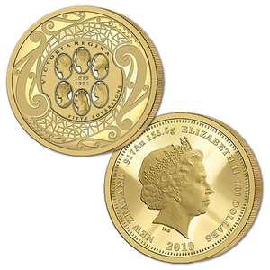 2019 New Zealand Sovereign - Queen Victoria 200 Years Fifty Sovereign Gold Proof Flip Coin