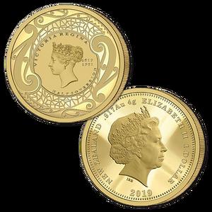 2019 New Zealand Sovereign - Queen Victoria 200 Years Half Sovereign Gold Proof Flip Coin
