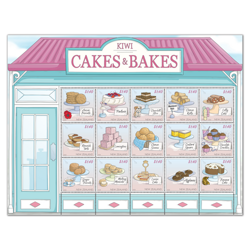 2020 Kiwi Cakes & Bakes Set of Cancelled Stamps