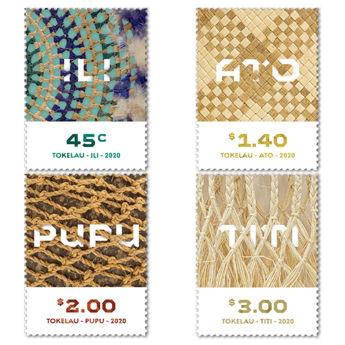 Tokelau Weaving 2020 Set of Cancelled Stamps