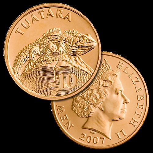 2007 New Zealand 10c Tuatara Brilliant Uncirculated Coin