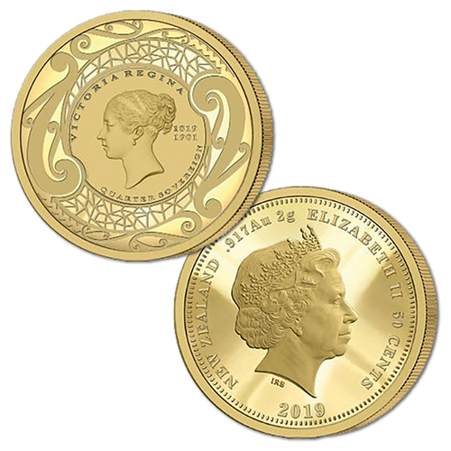 2019 New Zealand Sovereign - Queen Victoria 200 Years Quarter Sovereign Gold Proof Medallic Coin