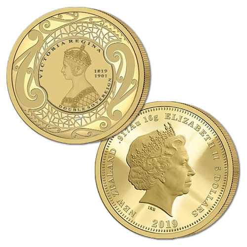 2019 New Zealand Sovereign - Queen Victoria 200 Years Double Sovereign Gold Proof Flip Coin