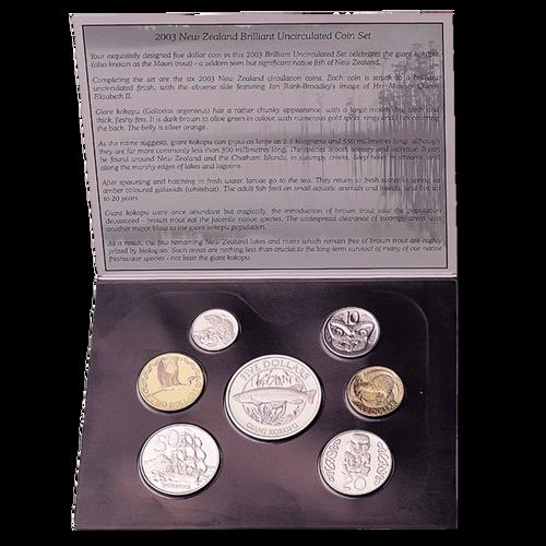 2003 New Zealand Annual Coin: Giant Kokopu Brilliant Uncirculated Coin Set