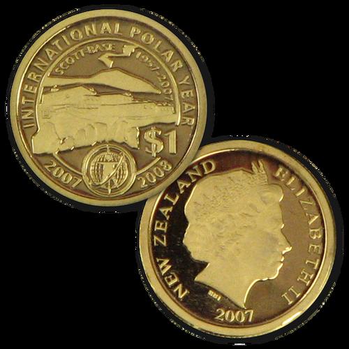 2007 Scott Base 1957 - 2007 Mini Gold Proof Coin