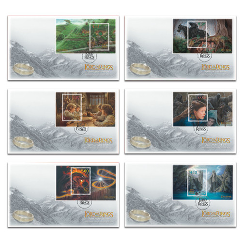 2021 The Lord of the Rings: The Fellowship of the Ring 20th Anniversary Set of Miniature Sheet First Day Covers