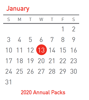 Annual Packs issue on 13 January 2021