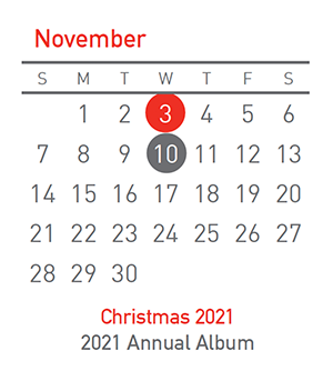 Christmas 2021, 3 November and Annual Album, 10 November