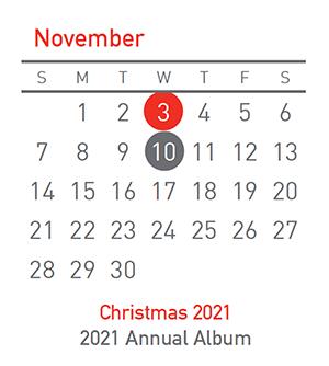 Christmas 2021, 3 November and Annual Album, 10 November