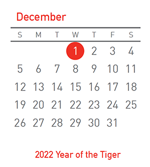 2022 Year of the Tiger, 1 December 2021