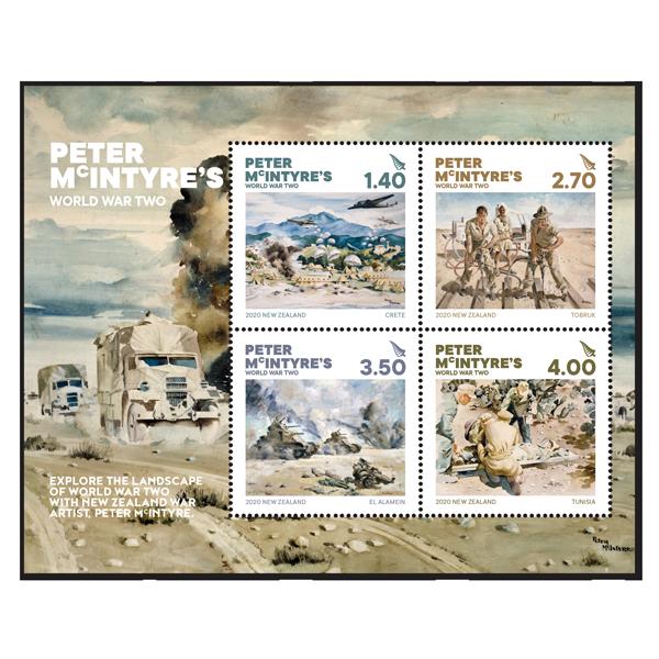 Peter McIntyre's World War Two gummed miniature sheet | NZ Post Collectables