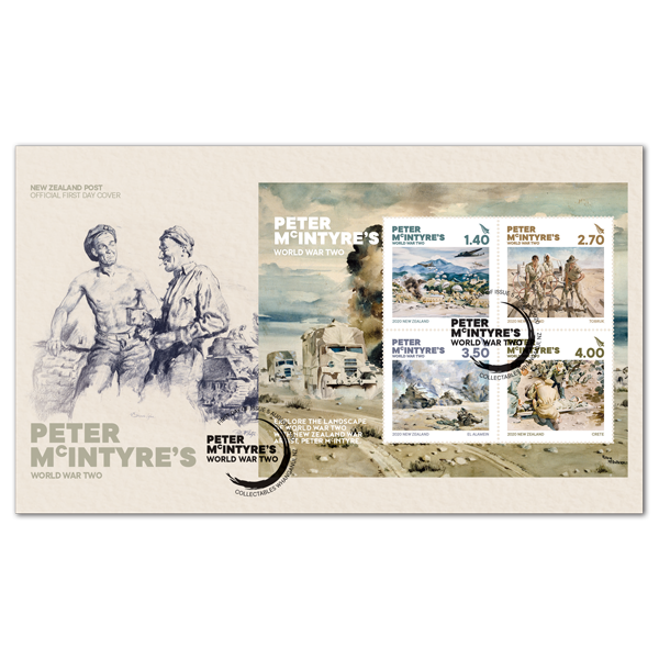 Peter McIntrye's World War Two miniature sheet first day cover | NZ Post Collectables