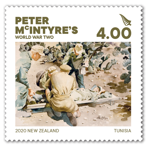 Peter McIntyre's World War Two single $4.00 gummed stamp | NZ Post Collectables