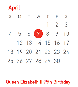 Queen Elizabeth II 95th Birthday, 7 April