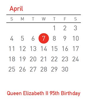 Queen Elizabeth II 95th Birthday, 7 April