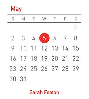 Sarah Featon, 5 May