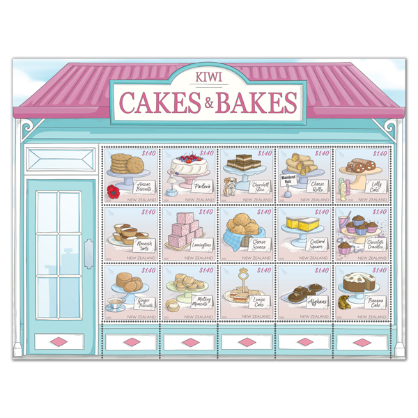 Kiwi Cakes & Bakes set of stamps   NZ Post Collectables