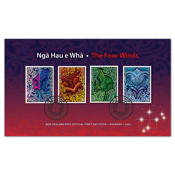Ngā Hau e Whā - The Four Winds first day cover with four gummed stamps affixed | NZ Post Collectables