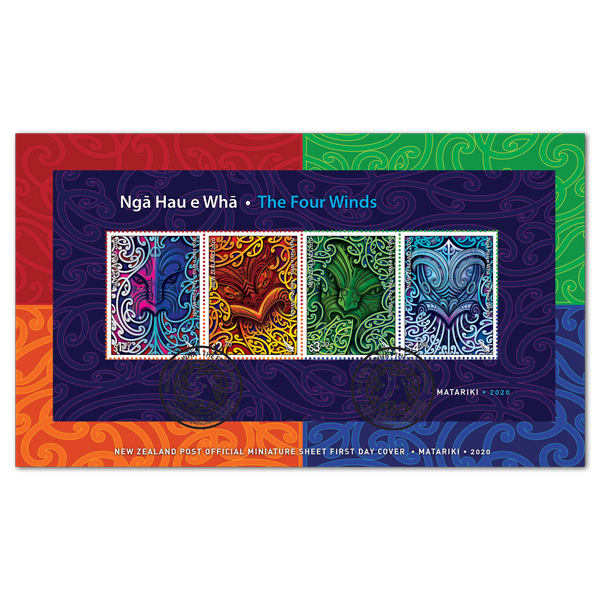 Ngā Hau e Whā - The Four Winds miniature sheet first day cover | NZ Post Collectables