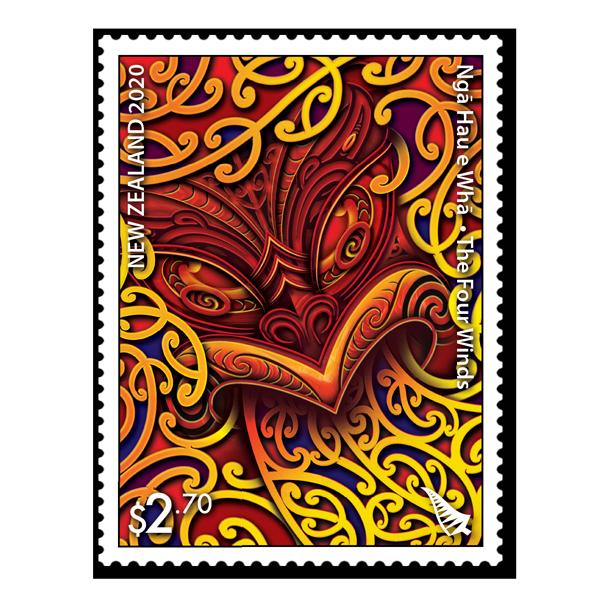 Ngā Hau e Whā - The Four Winds single $2.70 gummed stamp | NZ Post Collectables