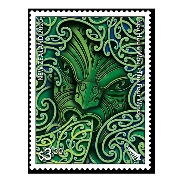 Ngā Hau e Whā - The Four Winds single $3.30 gummed stamp | NZ Post Collectables