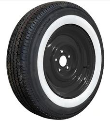"""ST205/75R15 Kenda Radial Trailer 2"""" Whitewall on Black Wheel"""