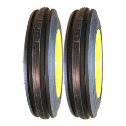 Two 4.00-12 Deestone 3-Rib Front Tire on Yellow Wheels