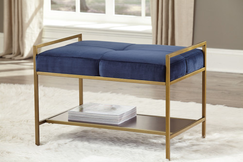 Upholstered Stool Navy Blue And Gold