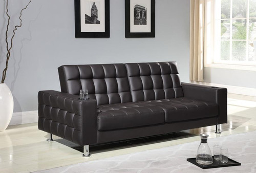 Brown faux-leather sofa Bed