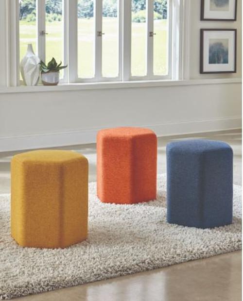 Hexagonal Upholstered Stool Yellow