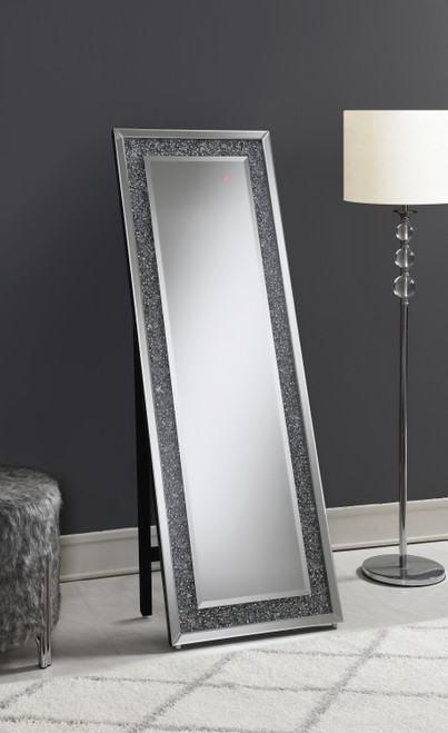 Rectangular Standing Mirror With LED Lighting Silver